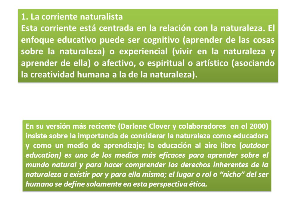 1. La corriente naturalista