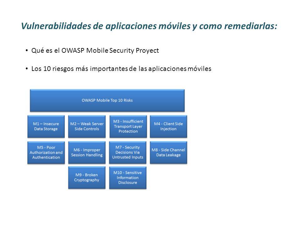 Vulnerabilidades de aplicaciones móviles y como remediarlas: