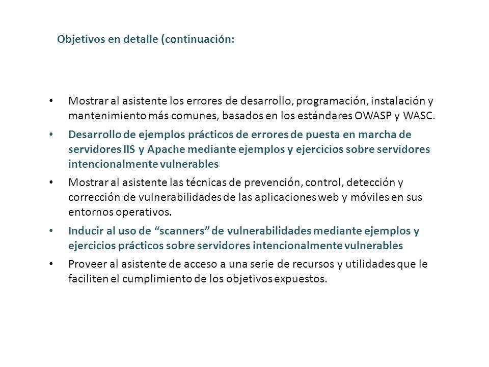 Objetivos en detalle (continuación: