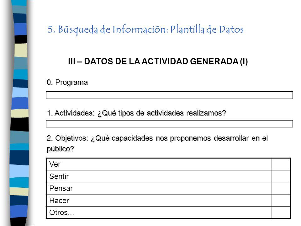 5. Búsqueda de Información: Plantilla de Datos