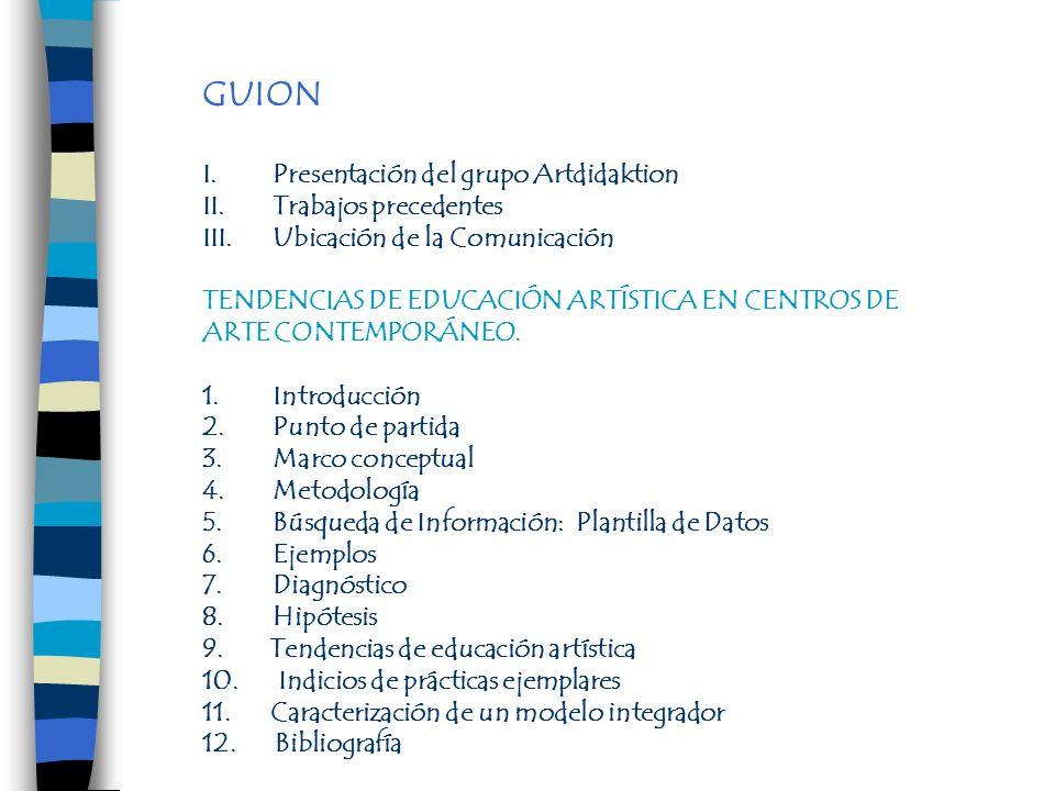 GUION Presentación del grupo Artdidaktion Trabajos precedentes