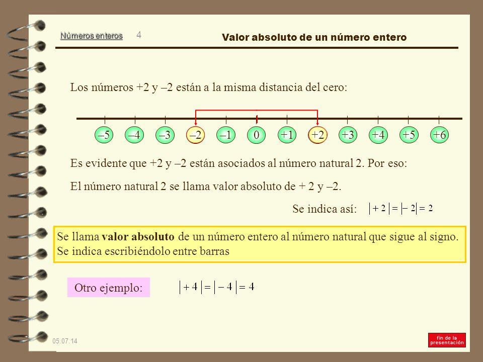 Los números +2 y –2 están a la misma distancia del cero:
