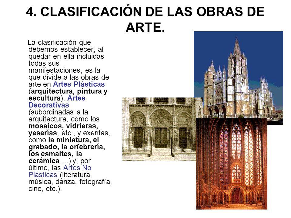 4. CLASIFICACIÓN DE LAS OBRAS DE ARTE.