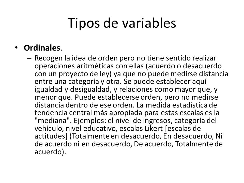 Tipos de variables Ordinales.