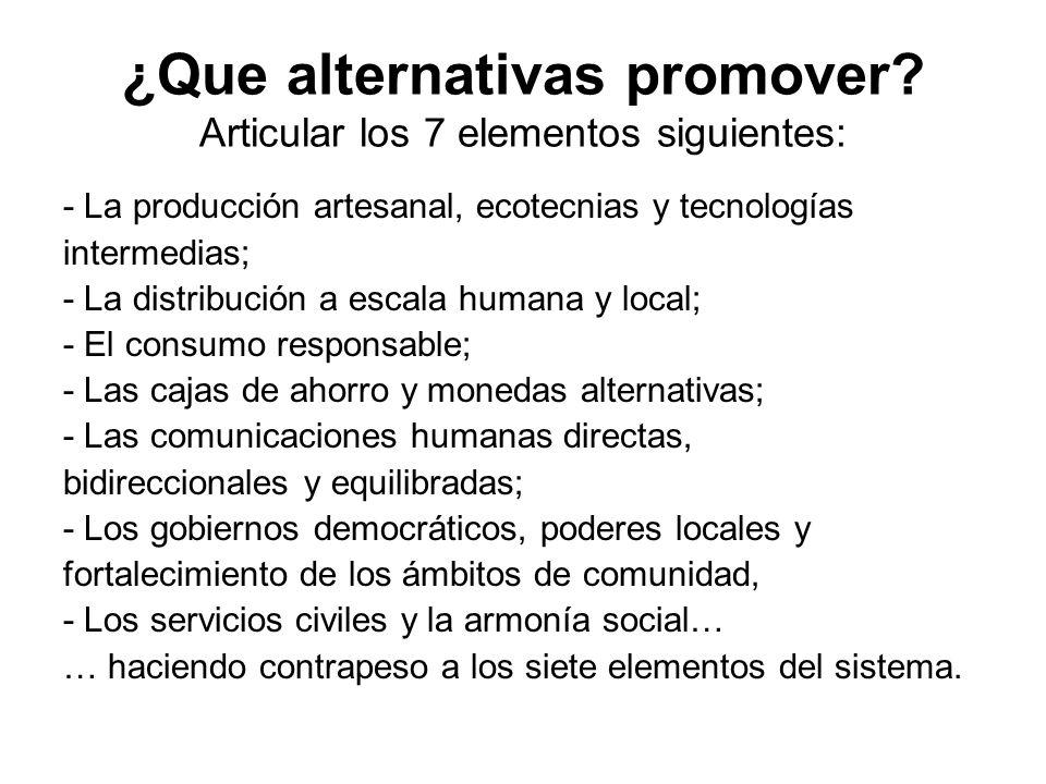 ¿Que alternativas promover Articular los 7 elementos siguientes: