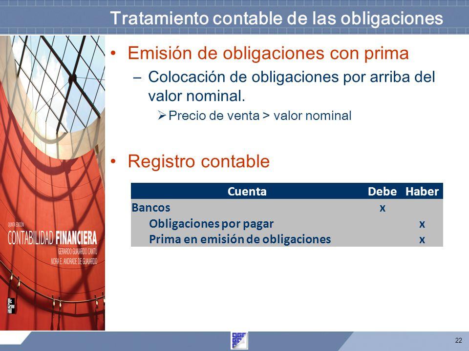 Tratamiento contable de las obligaciones