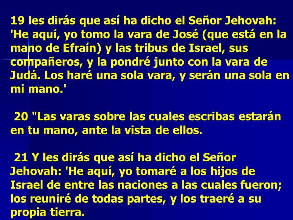 19 les dirás que así ha dicho el Señor Jehovah: He aquí, yo tomo la vara de José (que está en la mano de Efraín) y las tribus de Israel, sus compañeros, y la pondré junto con la vara de Judá. Los haré una sola vara, y serán una sola en mi mano.
