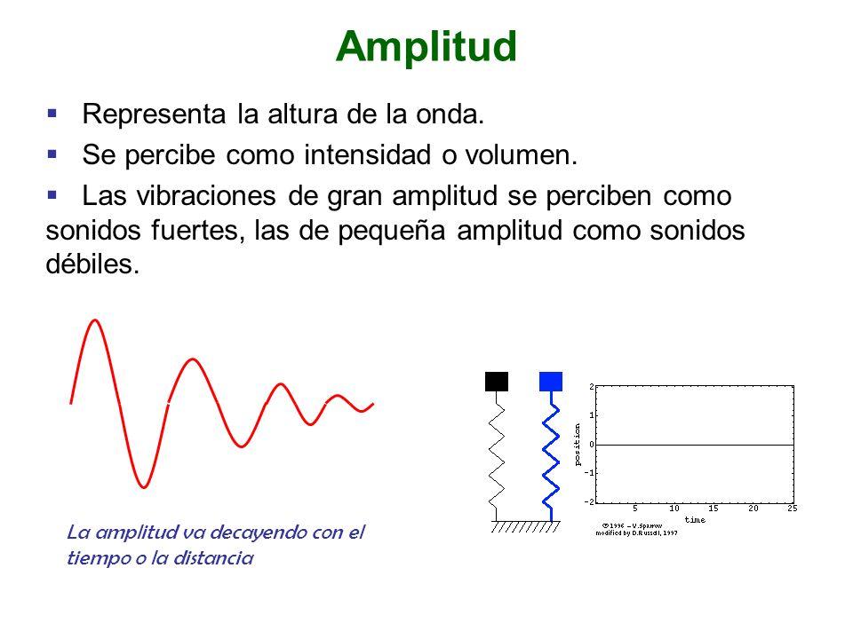 Amplitud Representa la altura de la onda.