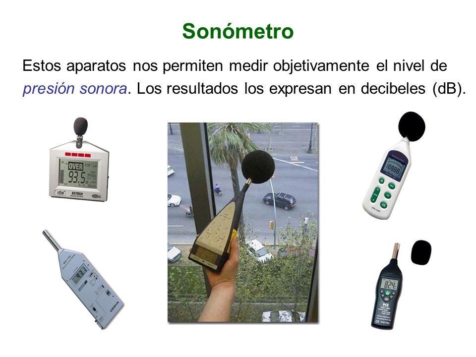 Sonómetro Estos aparatos nos permiten medir objetivamente el nivel de presión sonora.