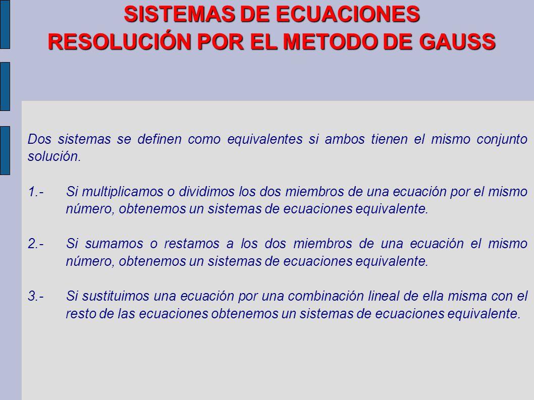 SISTEMAS DE ECUACIONES RESOLUCIÓN POR EL METODO DE GAUSS