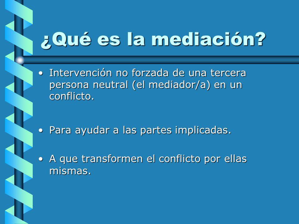 ¿Qué es la mediación Intervención no forzada de una tercera persona neutral (el mediador/a) en un conflicto.