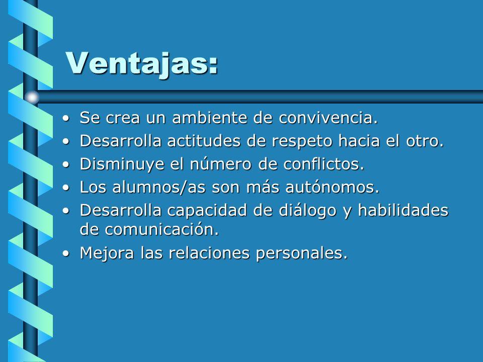Ventajas: Se crea un ambiente de convivencia.