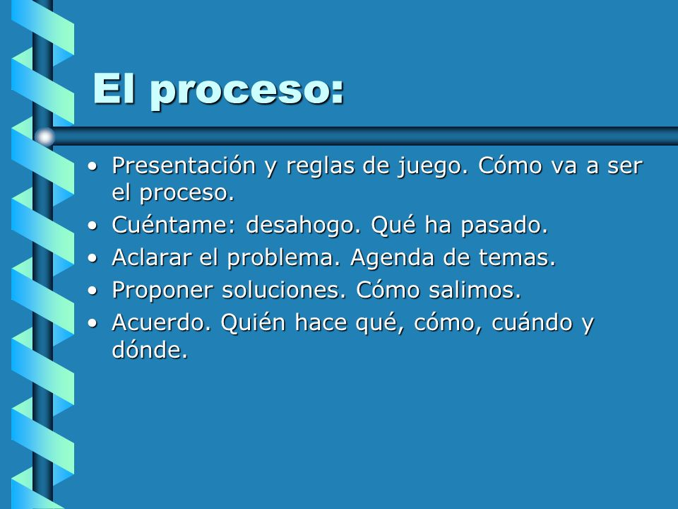 El proceso: Presentación y reglas de juego. Cómo va a ser el proceso.