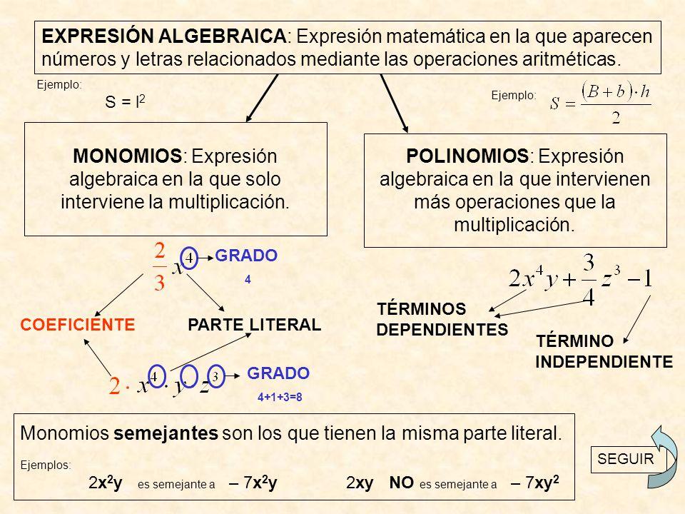 EXPRESIÓN ALGEBRAICA: Expresión matemática en la que aparecen números y letras relacionados mediante las operaciones aritméticas.