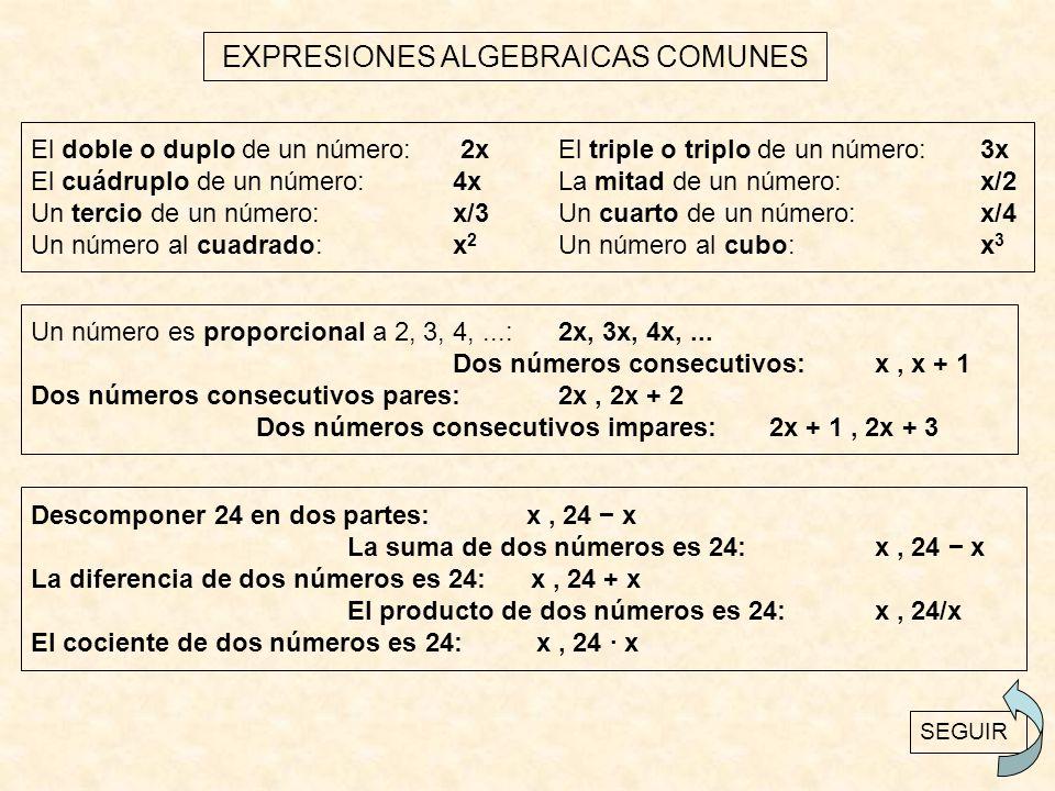 EXPRESIONES ALGEBRAICAS COMUNES