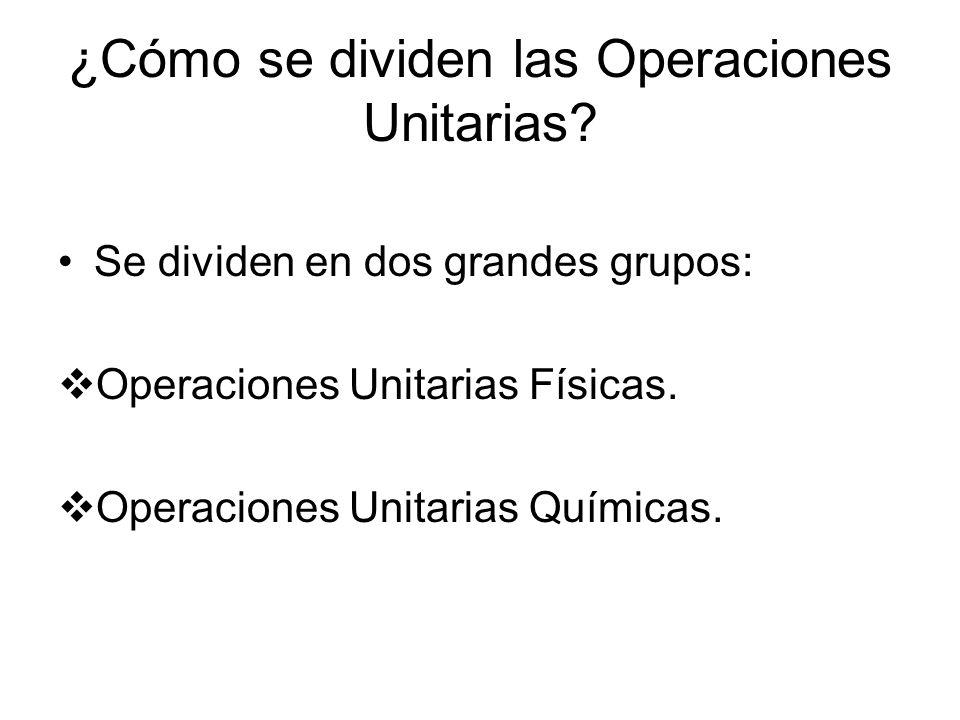 ¿Cómo se dividen las Operaciones Unitarias