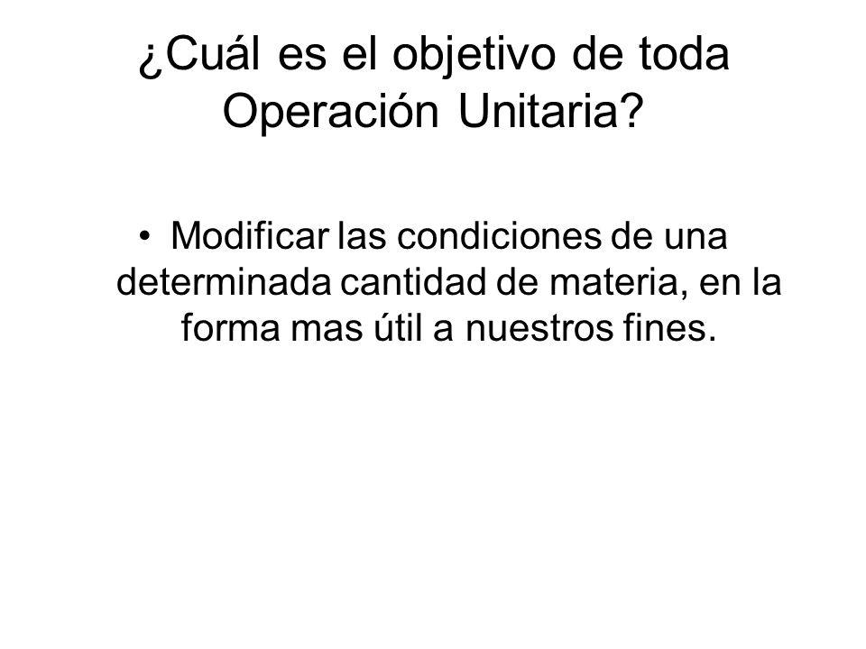 ¿Cuál es el objetivo de toda Operación Unitaria
