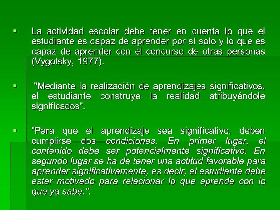 La actividad escolar debe tener en cuenta lo que el estudiante es capaz de aprender por sí solo y lo que es capaz de aprender con el concurso de otras personas (Vygotsky, 1977).