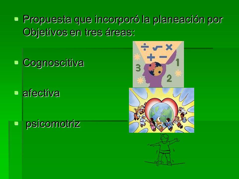 Propuesta que incorporó la planeación por Objetivos en tres áreas:
