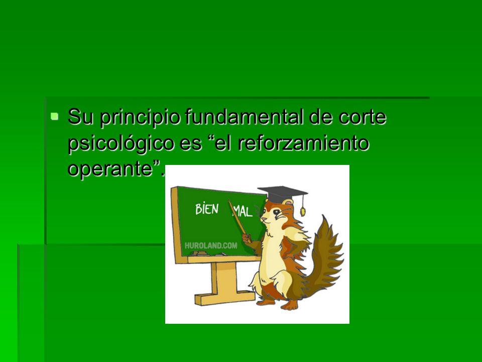 Su principio fundamental de corte psicológico es el reforzamiento operante .