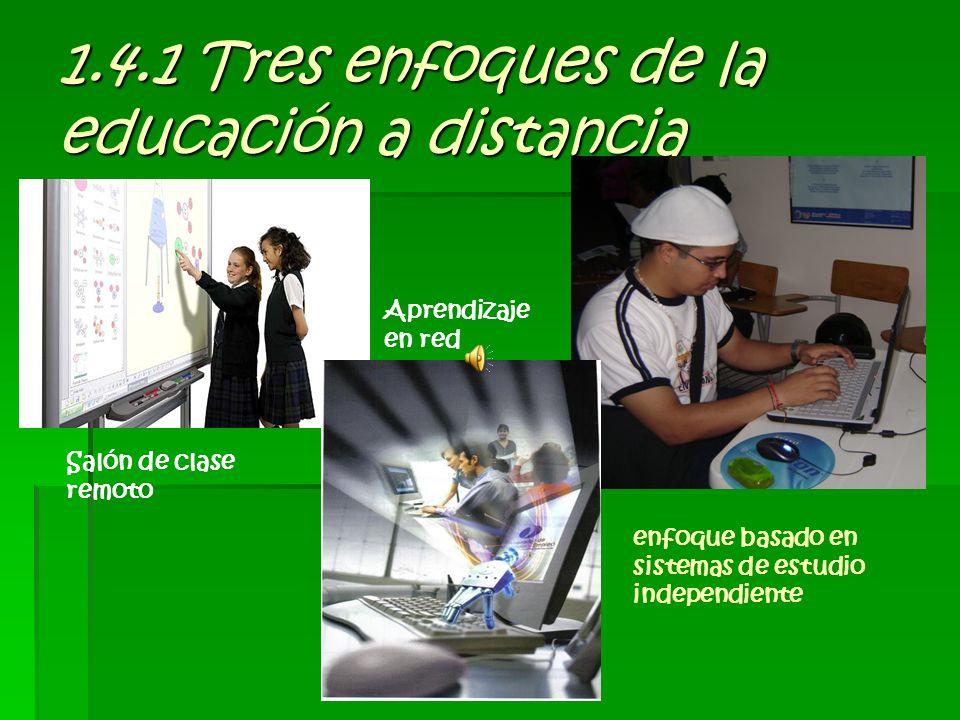 1.4.1 Tres enfoques de la educación a distancia