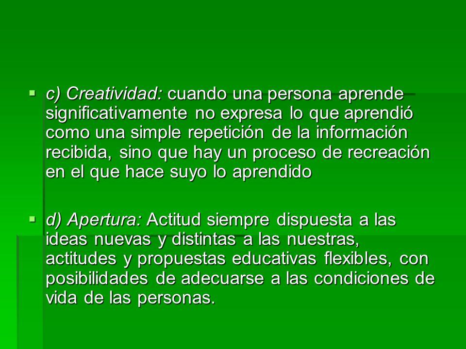 c) Creatividad: cuando una persona aprende significativamente no expresa lo que aprendió como una simple repetición de la información recibida, sino que hay un proceso de recreación en el que hace suyo lo aprendido