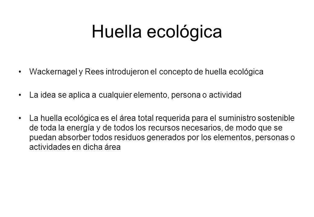 Huella ecológica Wackernagel y Rees introdujeron el concepto de huella ecológica. La idea se aplica a cualquier elemento, persona o actividad.