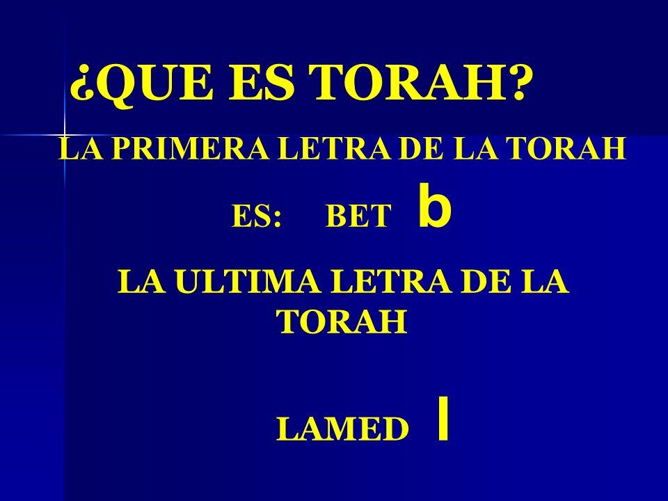 LA PRIMERA LETRA DE LA TORAH ES: BET b LA ULTIMA LETRA DE LA TORAH