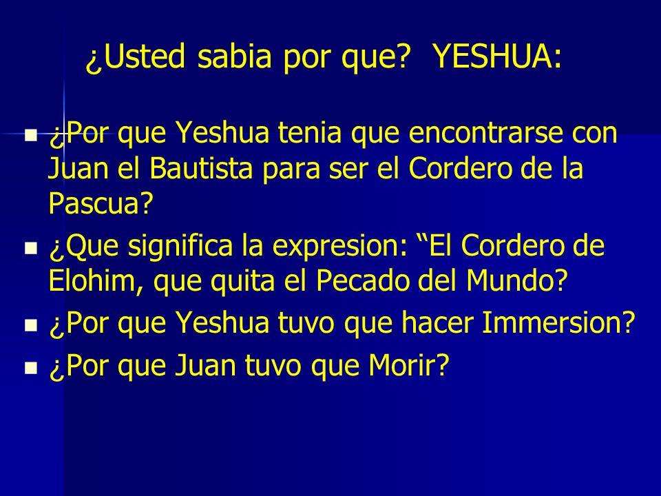 ¿Usted sabia por que YESHUA: