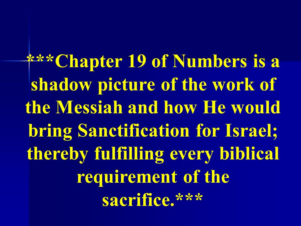 ***Chapter 19 of Numbers is a shadow picture of the work of the Messiah and how He would bring Sanctification for Israel; thereby fulfilling every biblical requirement of the sacrifice.***