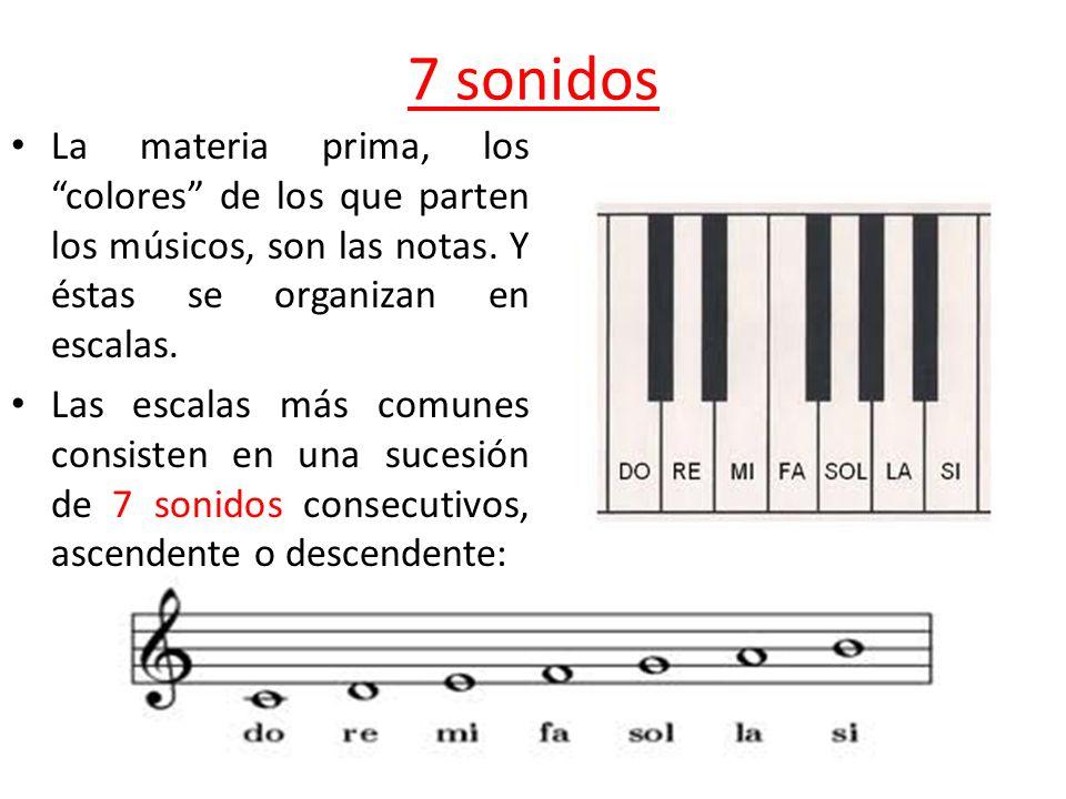 7 sonidos La materia prima, los colores de los que parten los músicos, son las notas. Y éstas se organizan en escalas.