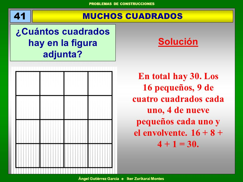 ¿Cuántos cuadrados hay en la figura adjunta