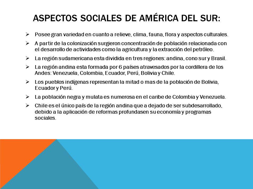 Aspectos sociales de américa del sur: