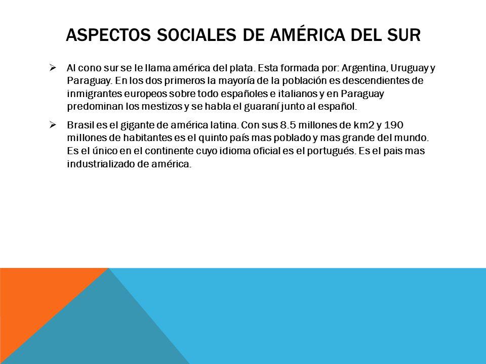 Aspectos sociales de américa del sur