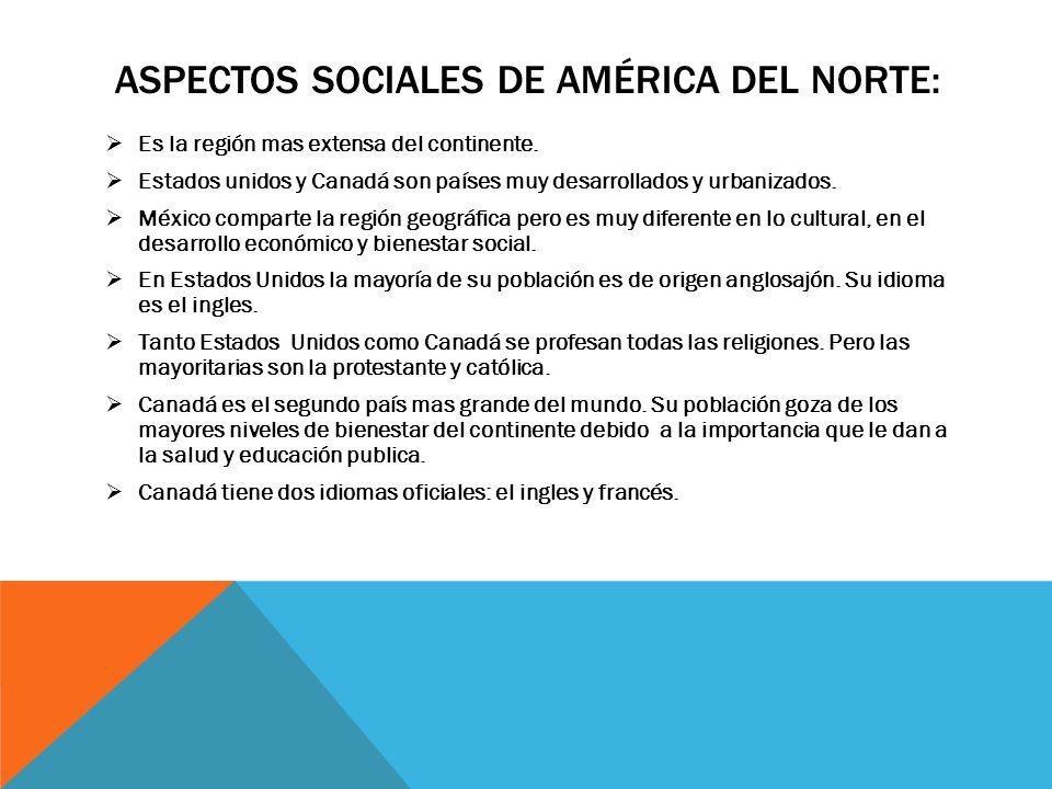 Aspectos sociales de américa del norte: