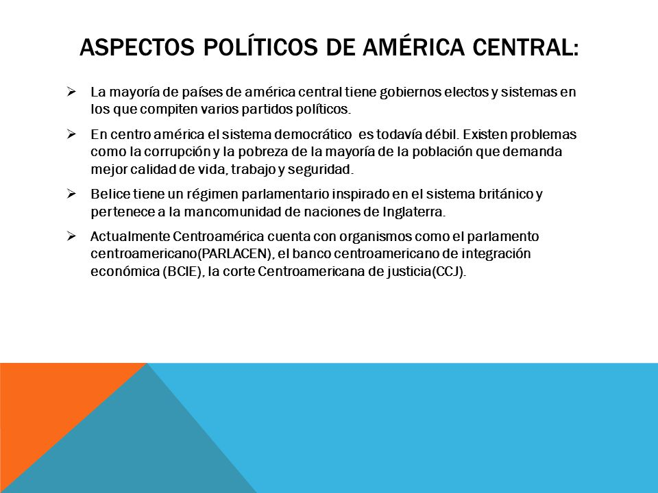 Aspectos políticos de américa central: