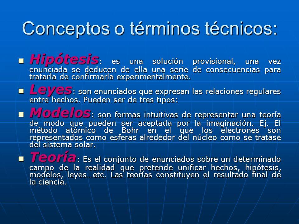 Conceptos o términos técnicos: