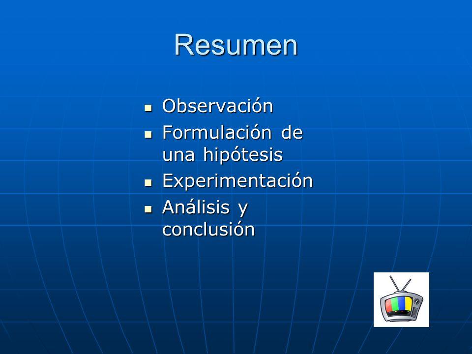Resumen Observación Formulación de una hipótesis Experimentación