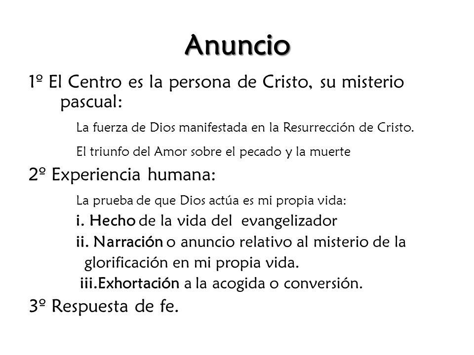 Anuncio 1º El Centro es la persona de Cristo, su misterio pascual:
