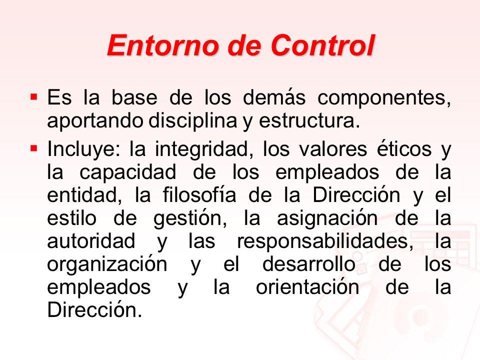 Entorno de Control Es la base de los demás componentes, aportando disciplina y estructura.
