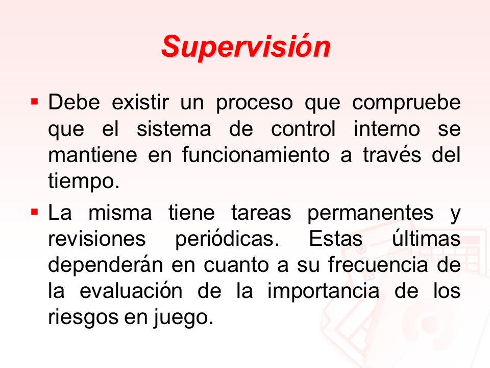 Supervisión Debe existir un proceso que compruebe que el sistema de control interno se mantiene en funcionamiento a través del tiempo.