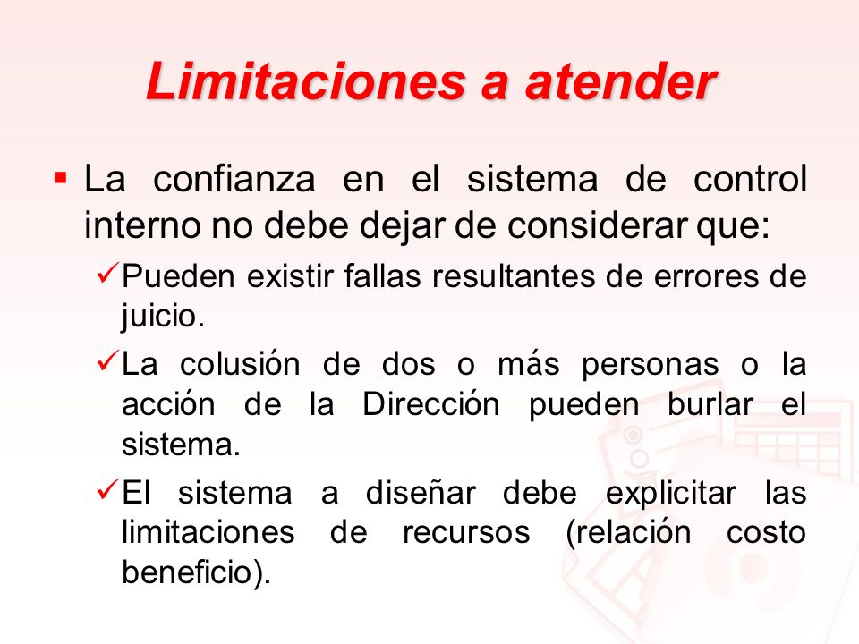 Limitaciones a atender