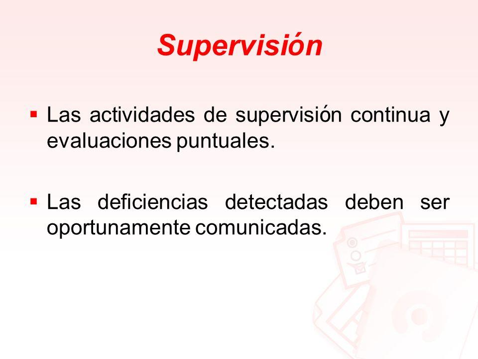 SupervisiónLas actividades de supervisión continua y evaluaciones puntuales.