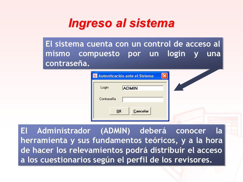 Ingreso al sistema El sistema cuenta con un control de acceso al mismo compuesto por un login y una contraseña.