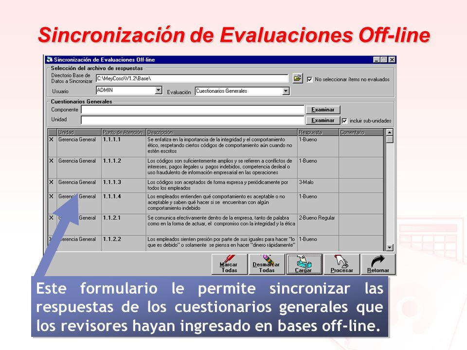 Sincronización de Evaluaciones Off-line