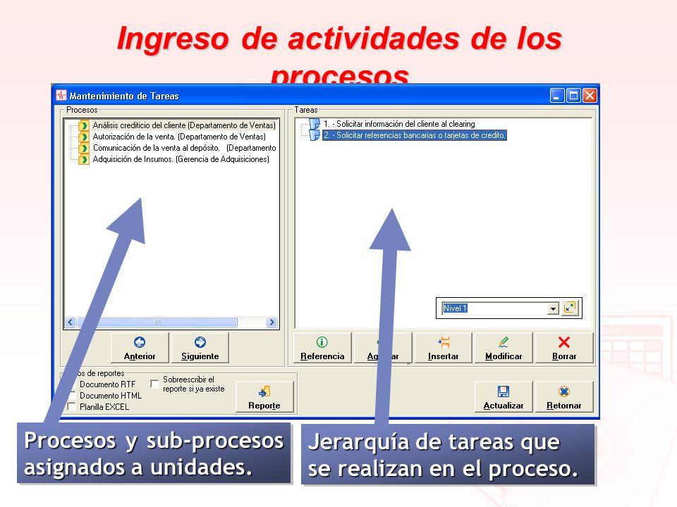 Ingreso de actividades de los procesos
