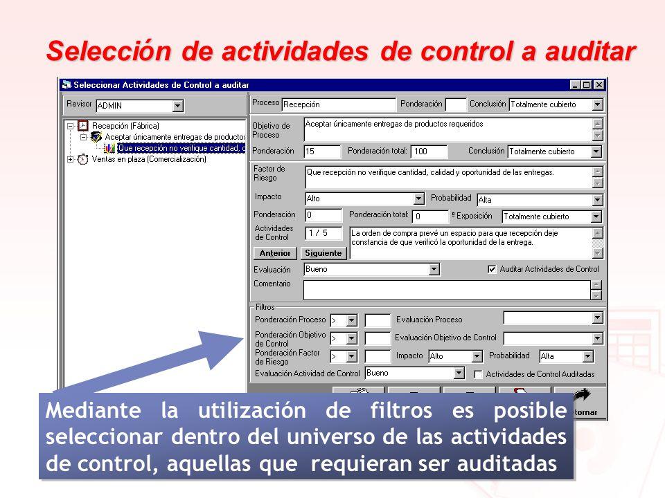 Selección de actividades de control a auditar