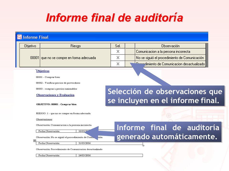 Informe final de auditoría