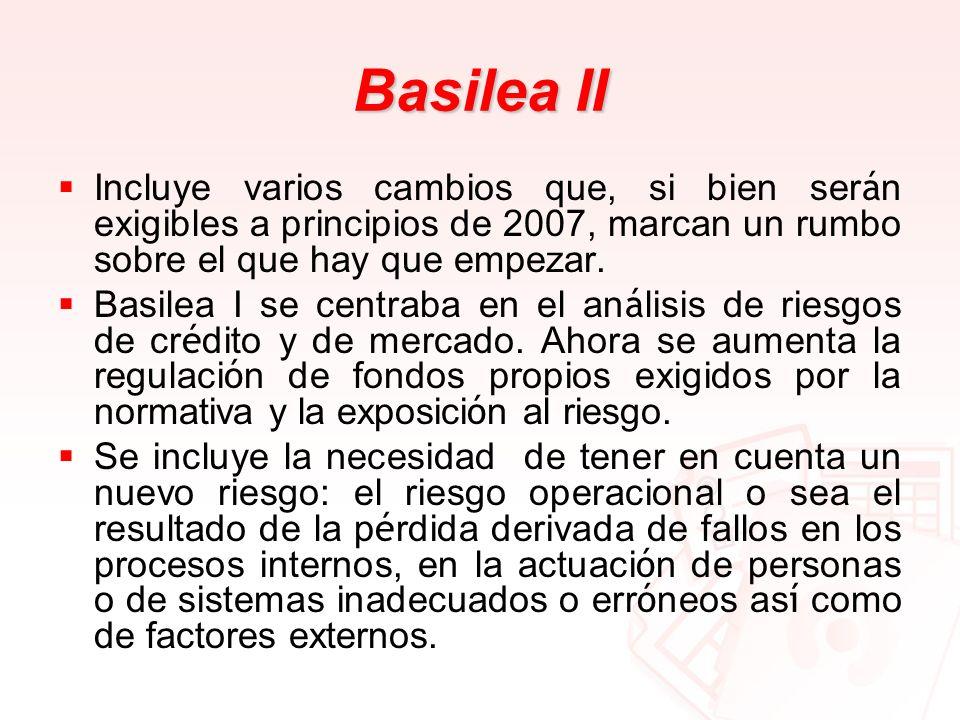 Basilea IIIncluye varios cambios que, si bien serán exigibles a principios de 2007, marcan un rumbo sobre el que hay que empezar.
