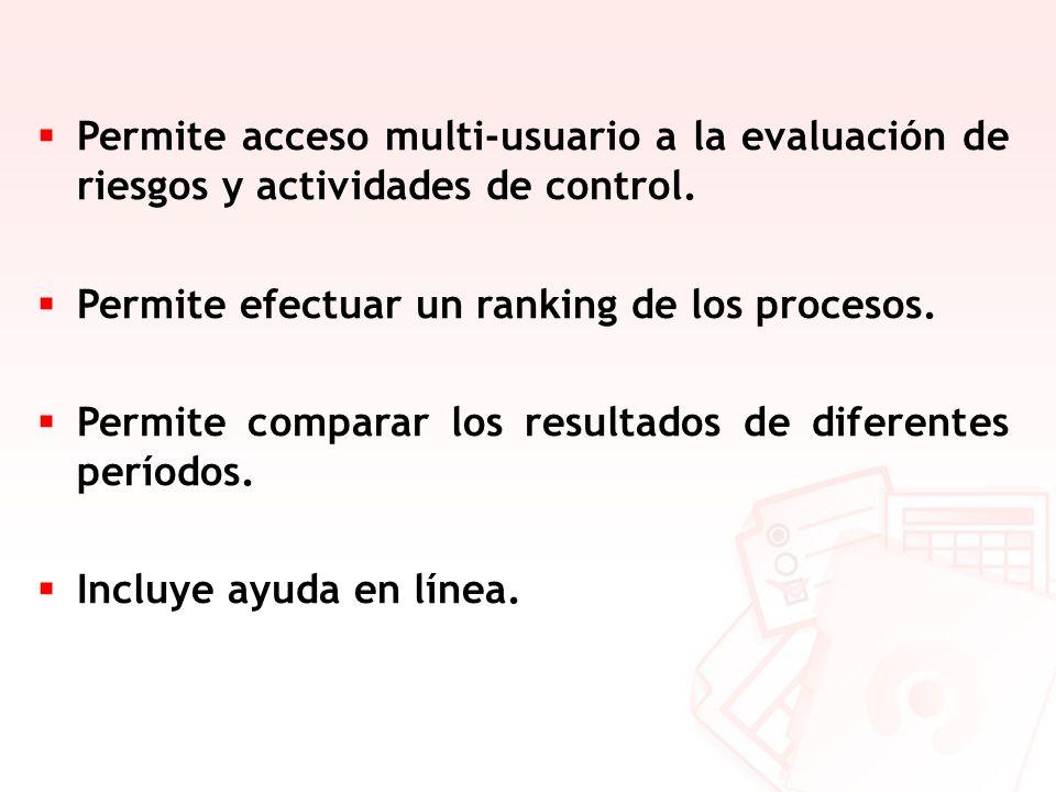 Permite acceso multi-usuario a la evaluación de riesgos y actividades de control.
